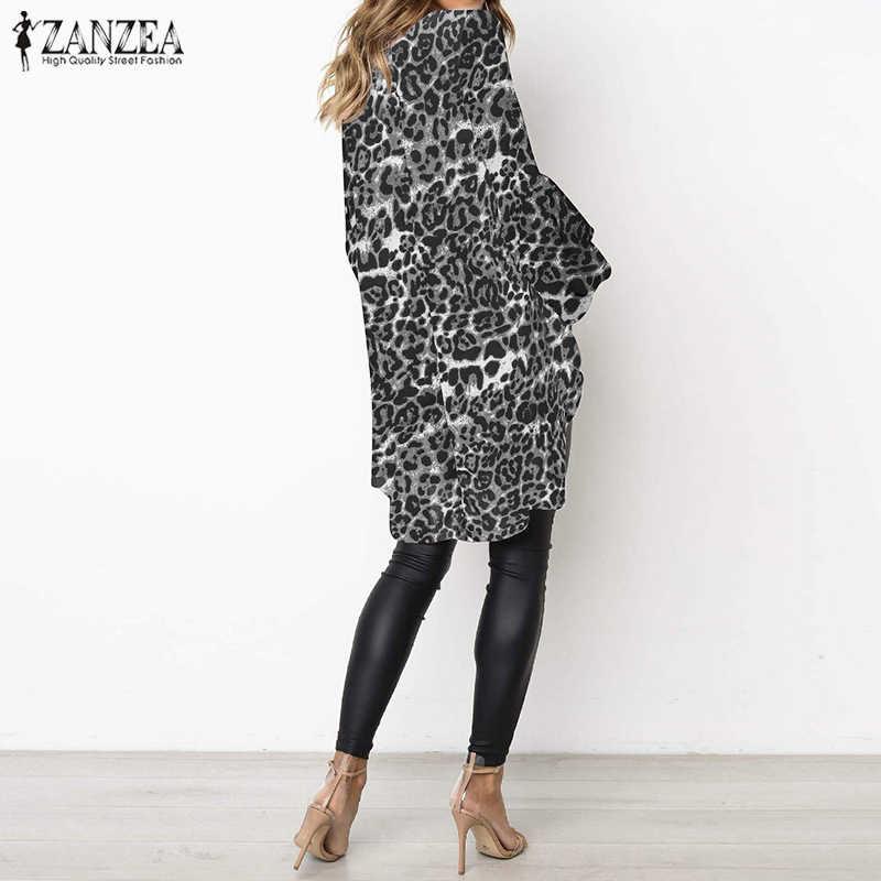 2019 плюс Размеры ZANZEA Лето Для женщин повседневный с рукавом-фонариком с леопардовым принтом Irrugular Вечерние Туника Блуза Топ Женская кружевная кофта