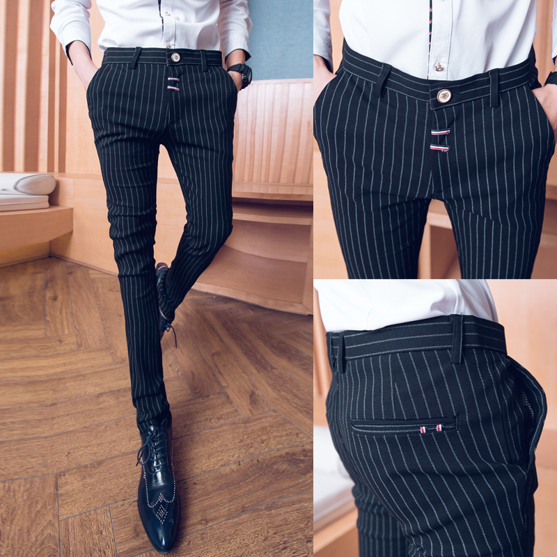 18 new tight-fitting striped feet pants tide spring summer hair stylist nightclub thin youth stretch Korean Slim casual trousers