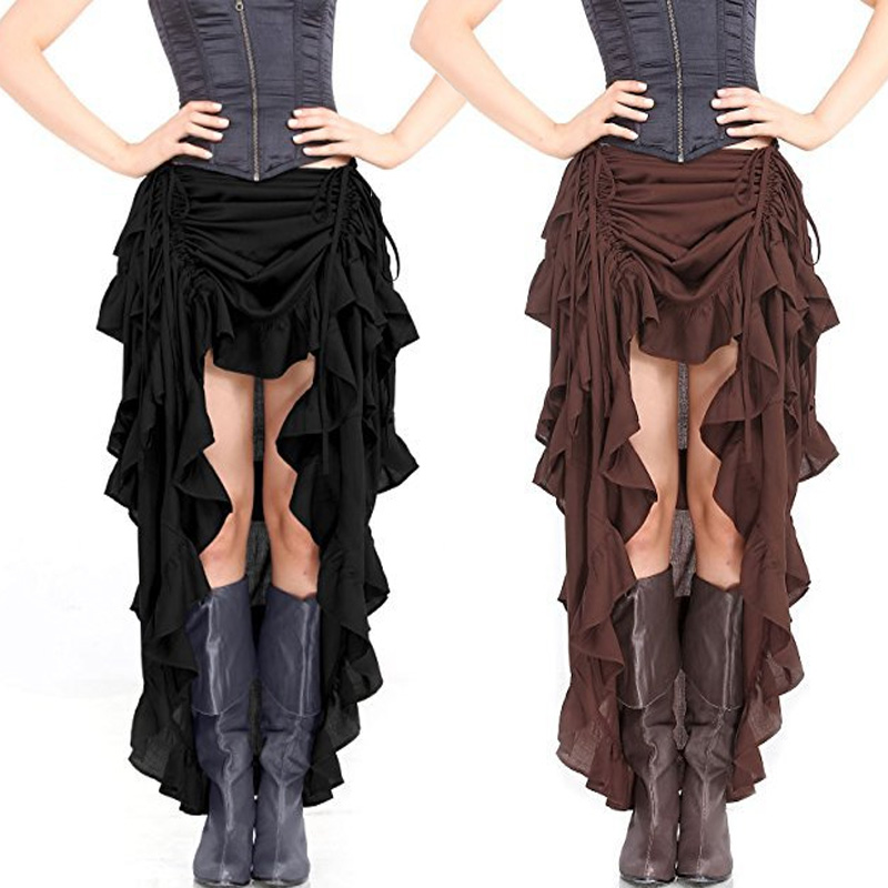 S-6XL Ladies Gothic Patchwork Steampunk Ruffles Corset Skirt Corset Halloween Pirate Skirts Fancy Costume