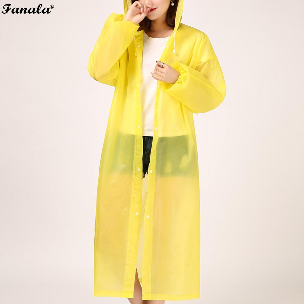 Unisex Adult Casual Hooded Neck Long Sleeve Solid All Season Button Closure Raincoat