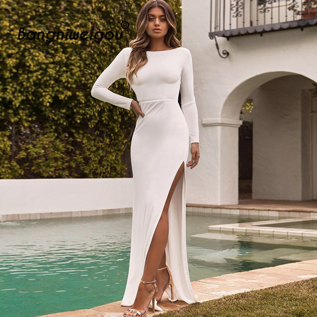 408c562304 Sexy Backless Long Sleeve Maxi Dress Women White Black 2018 New Open back  Slit Autumn Party