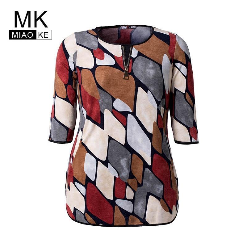 Miaoke Ladies Plus Size Print tops High Quality Clothing Fashion Vintage elegant Plus Size Women oversized Mom shirt