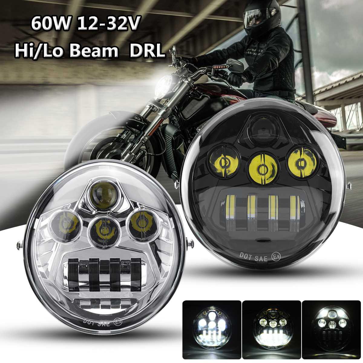 DOT E9 60 W moto phare LED hi-lo faisceau DRL pour Harley pour Davidson VROD VRSCDOT E9 60 W moto phare LED hi-lo faisceau DRL pour Harley pour Davidson VROD VRSC