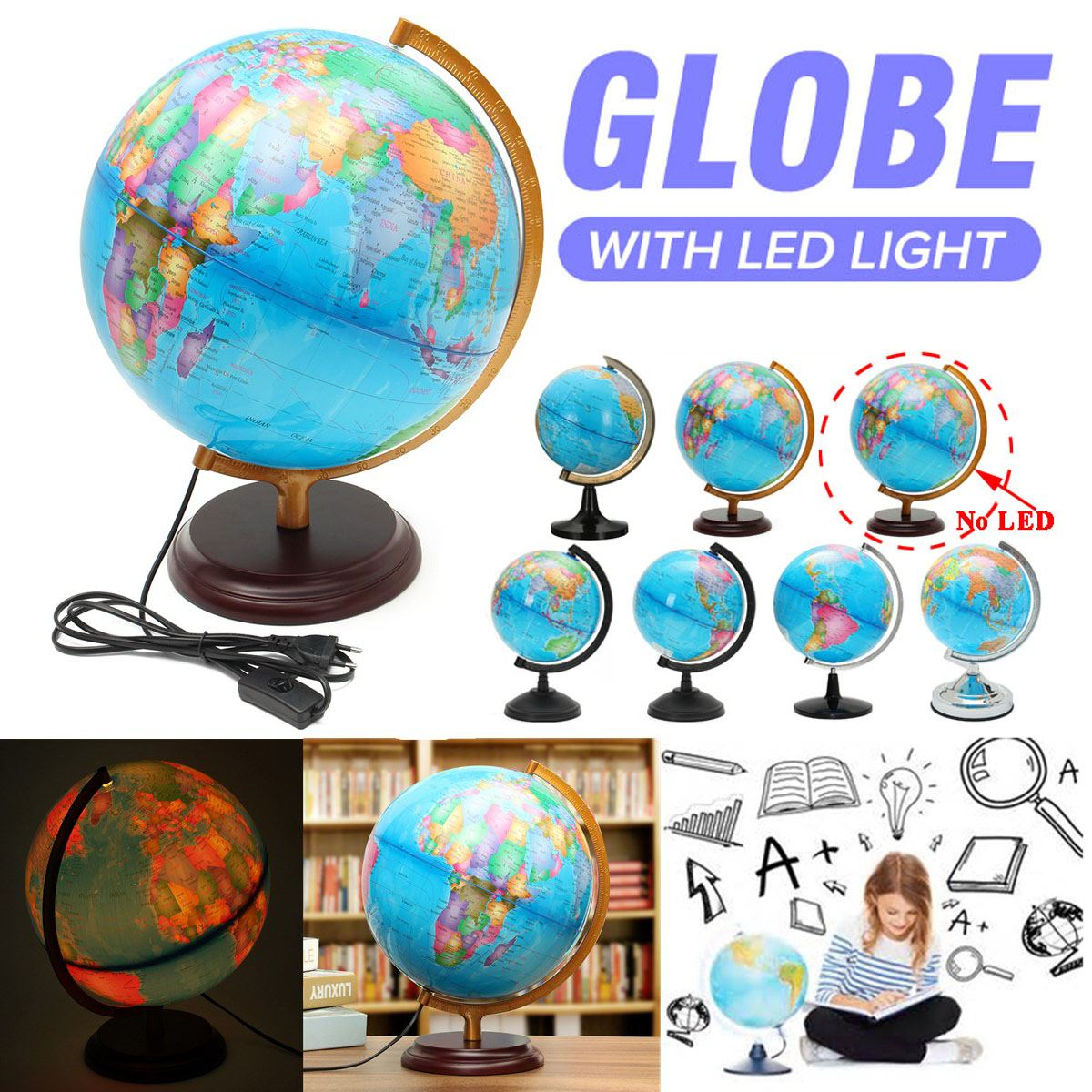 32cm Illuminated World Globe 4 Way Touch Control Lamp Light for Indoors-Gold
