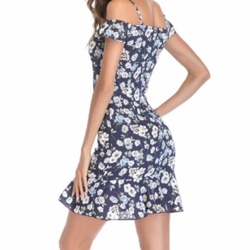 14cb6cfc31 Summer Chiffon Boho Women Dresses Sexy Spaghetti Strap Ruffles Mini Dress  Fashion Off Shoulder Print Floral