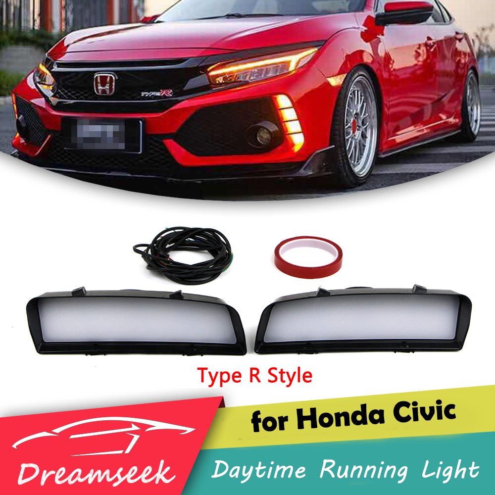 LED DRL For Honda Civic Type R 2016 2017 2018 Daytime Running Light With Turn Signal Lamp