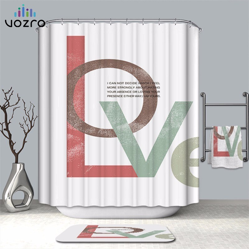 VOZRO Bathroom Shower Curtain Quality Natural Waterproof Polyester 2 M Cloth 3D Totem Simple Douchegordijn Bape Splatoon Cortina-in Shower Curtains from Home & Garden