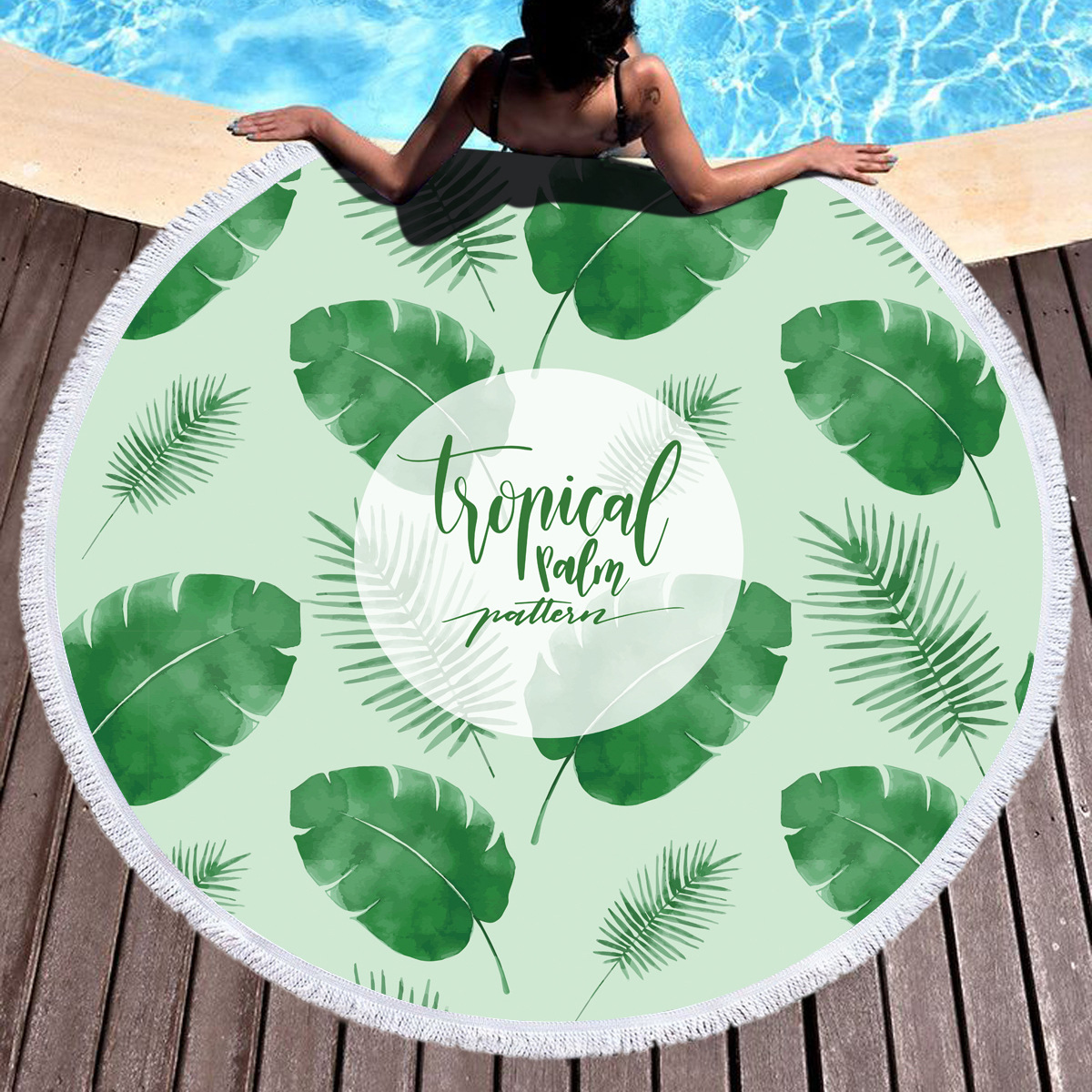 INS Hot Tropical Leaves Round Beach Cover Up Beach Mat Towel Shawl Yoga Mat Summer Sarong Cloak Camping Mat