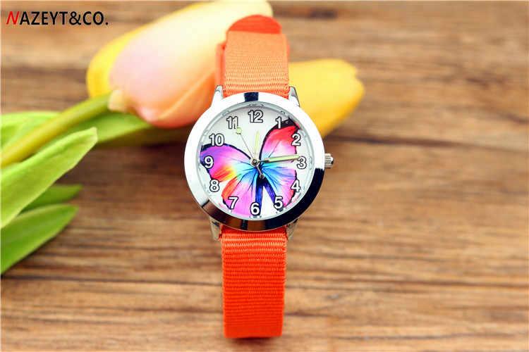 משלוח חינם NAZEYT מותג ילדי ילדי שעון קוורץ שעון צבעוני פרפר חיוג זוהר ידיים קטן בני בנות ניילון שעון