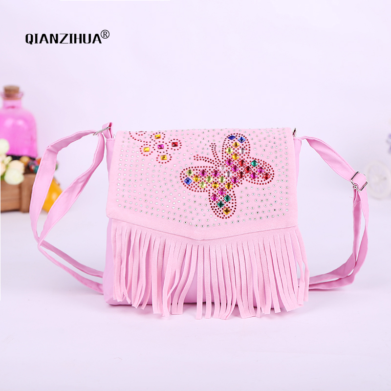 Baby Girl Cute Tassel Bags Diamond Butterfly Mini Shoulder Bags For Children Girls School Bags Princess Cross Body Clutch Bag