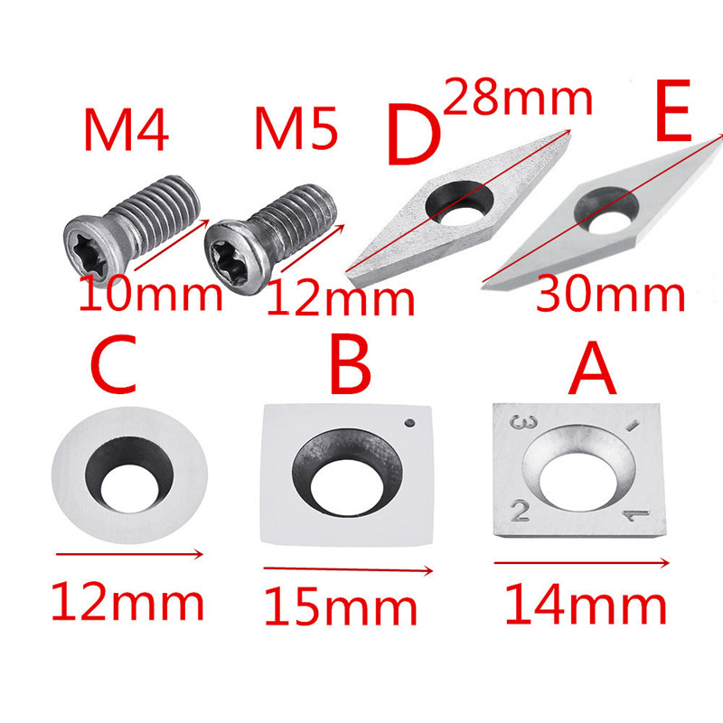 New Wood Carbide Insert Milling Cutter Torx M4/M5 Screws For Wood Turning Tool Woodworking Durable