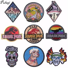 Pulaqi Jurassic Park Embroidery Heat Transfers Sewing On Biker Patches Punk Cat Patch Decor For Bag Clothing Hat DIY H