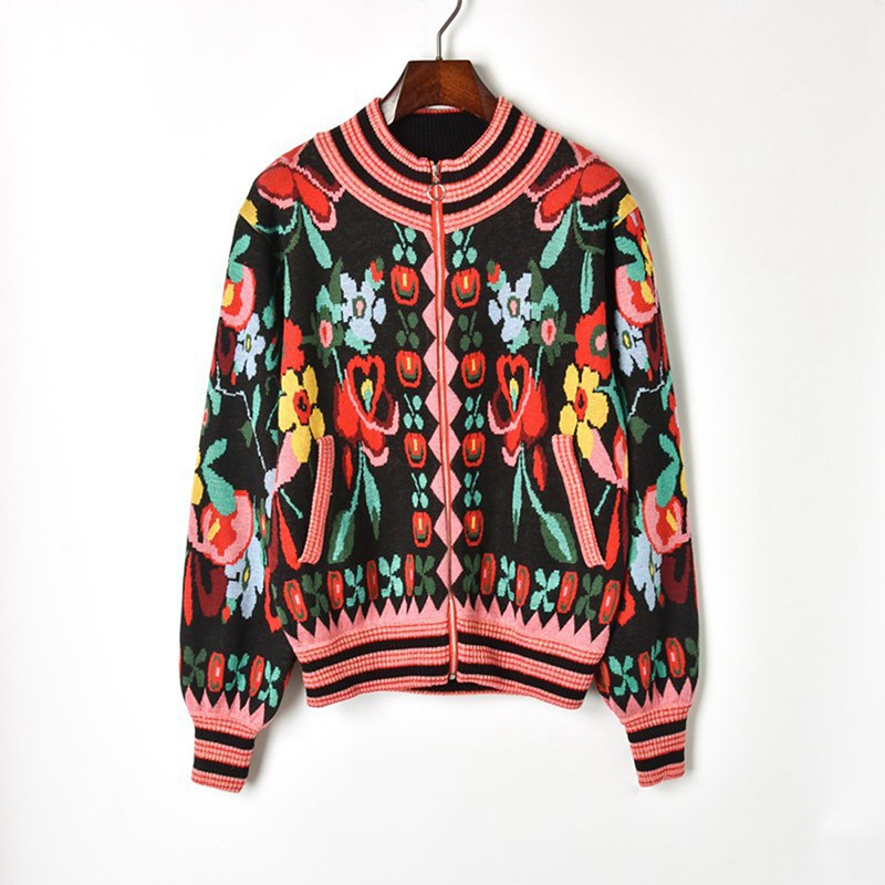 Jacquard Knit Cardigan Sweater 2018 Winter Hit Color Flower Print Long Sleeve Cardigan Coat Women Zipper Knitted Baseball Jacket cardigan