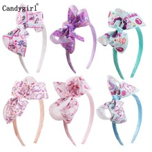 6pcs Bow Headband Woven Headwear Rainbow Printed Ribbon Hairbands for Girls Boutique Hair band Accessories scrunchie