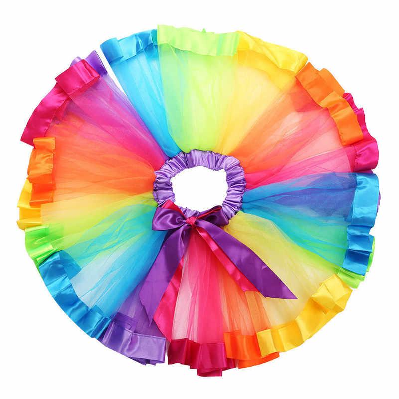 Ropa infantil nuevos niños hecho a mano colorido tutú falda niñas Arco Iris tul tutú Mini vestido 0-8Y recién nacido Ropa de niña