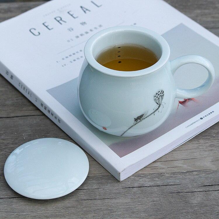 Thé céramique verre apporter couvercle filtre originalité Marc tasse Jindezhen bureau boisson thé Longquan céladon - 3