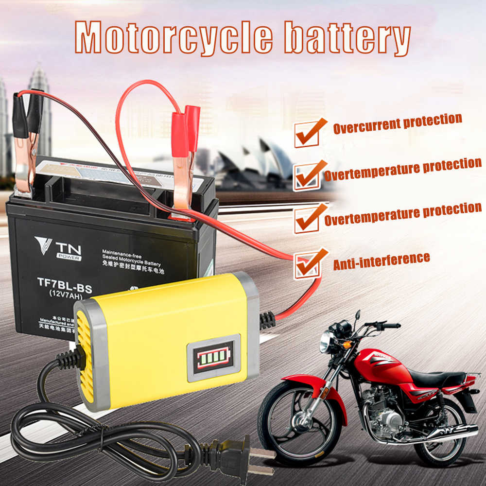 Auto Moto Battery Charger 12V 2A Pieno Automatico Intelligente di Potere del Caricatore Maintainer 3 Fasi Al Piombo AGM GEL VRLA display A LED