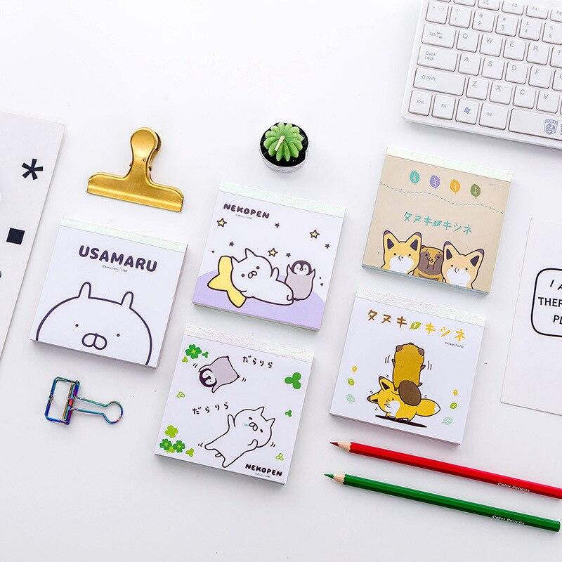 Nette Cartoon Kaninchen Fuchs Memo Pad Kawaii N Mal Note Mini 100 Seite Tasche Notizblock Planer Aufkleber 10 Farben Japanischen schreibwaren