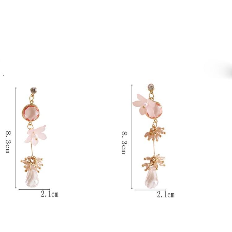 Korean New Purple Crystal Water Drop Earrings Cute Romantic Flower Shape Water Drop Crystal Pendant Earring in Drop Earrings from Jewelry Accessories