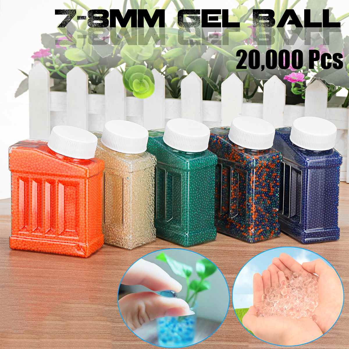 20000Pcs 7-8mm Crystal Bullets Water Ammo Beads For Gel Ball Guns Blasters Toy Water Guns Ammo Shotting Bullets