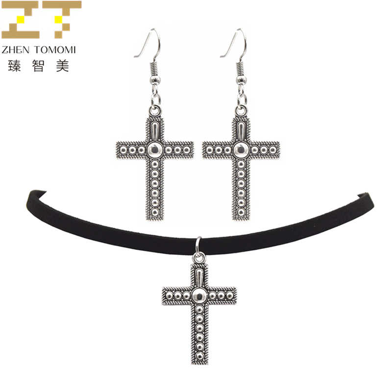 2019 Hot Fashion Black Velvet Leather Bijoux Vintage Retro Cross Pendants Choker Necklace/Drop Earrings For Women Jewelry Sets