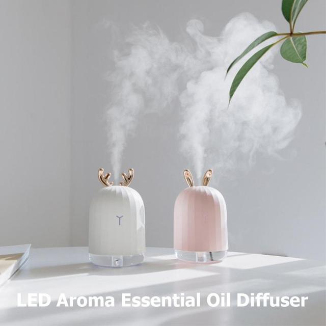 220ml Ultrasonic Air Humidifier USB Aroma Essential Oil Diffuser Aromatherapy Air Purifier Mist Maker with7 Color LED Night Lamp