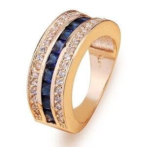 Image 3 - מלא יהלומי ספיר טבעת לנשים 18k זהב Bague או Jaune Bizuteria עבור תכשיטי Anillos גברים חן אנל תכשיטים זהב טבעת