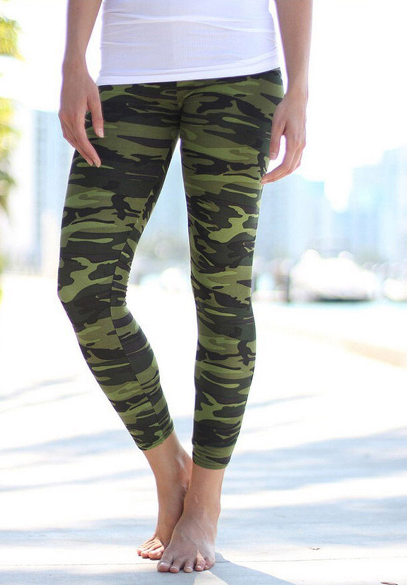 New Women Camouflage Army Print Full Ankle Length Stretchy SlimFit Leggings Pant