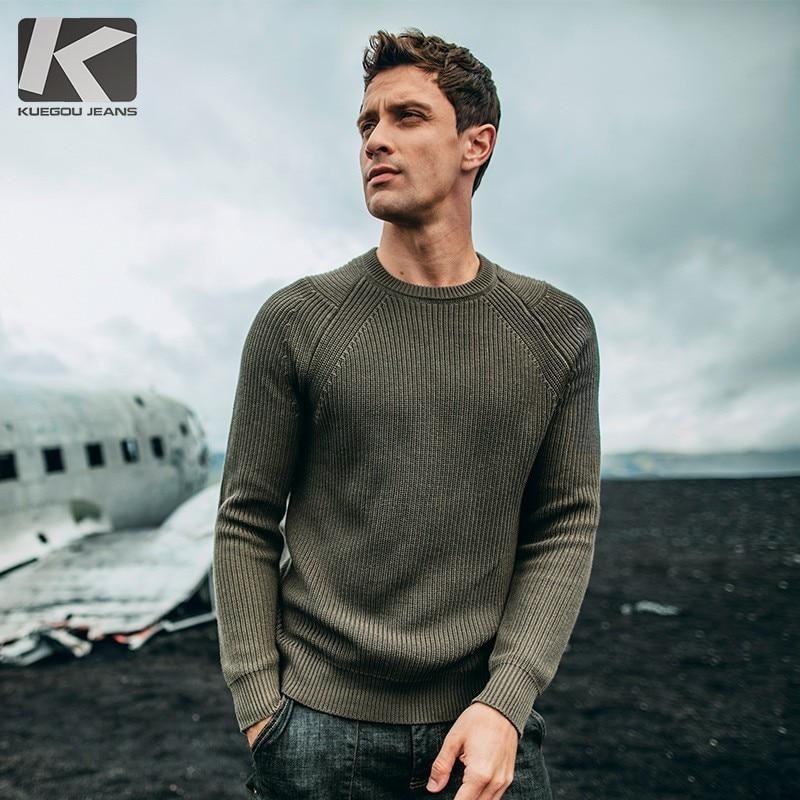 Automne hommes pull coton gris vert blanc noir pulls pour homme décontracté Slim Fit vêtements nouveau mâle porter haut tricot 18016