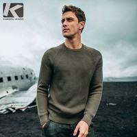 Autumn Men Sweater Cotton Gray Green White Black Pullovers For Man Casual Slim Fit Clothing New Male Wear Knitting Tops 18016