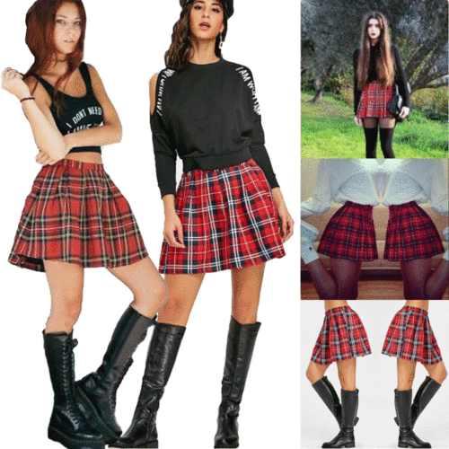 Dziewczęcy japoński mundurek szkolny krótki JK Sailor plisowana spódnica spódnica mini w szkocką kratkę