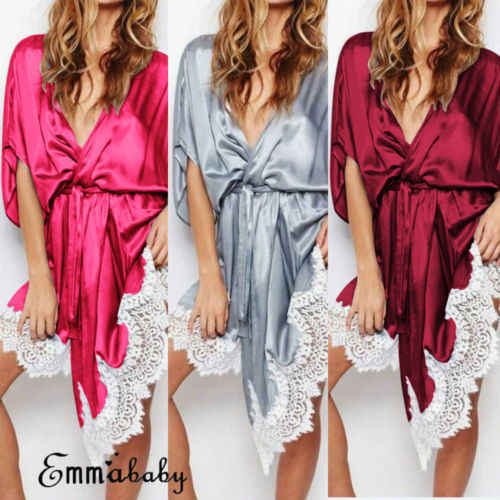 92d43f6c8fb Women Sexy Silk Kimono Dressing Babydoll Lace Lingerie Belt Bath Robe  Nightwear night dress sleepwear nightgown