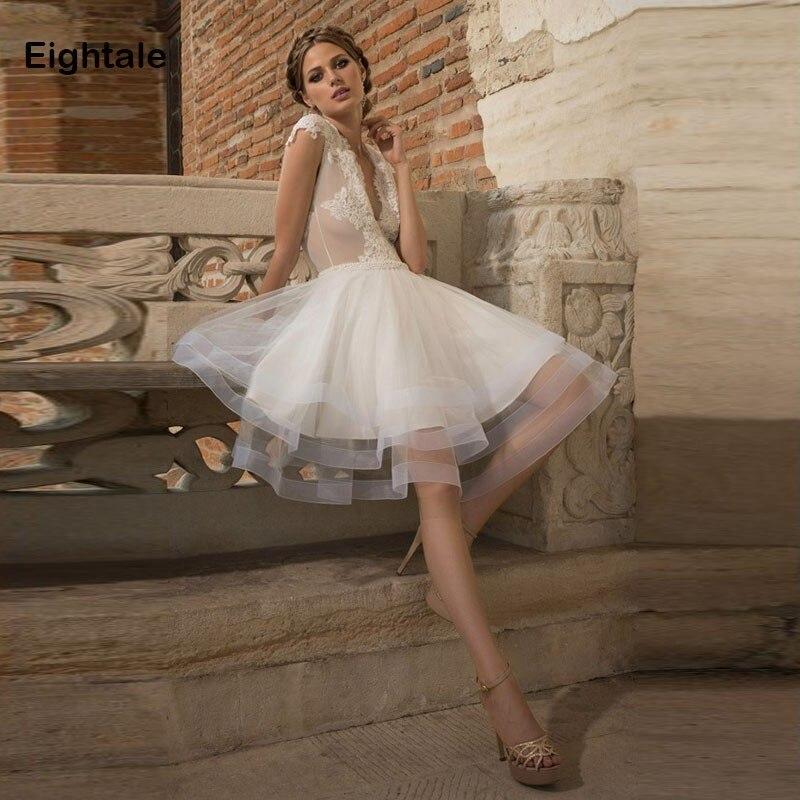 Eightale Short Wedding dress Appliques Lace Tulle Keyhole Back Bride Dress A Line Simple Sheer Wedding