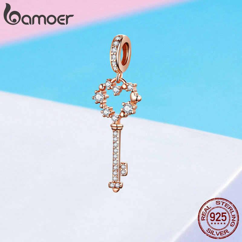 BAMOER 925 ayar gümüş parlayan yıldız anahtar şekli kolye uçları fit kadın bilezik ve kolye lüks takı SCC1122