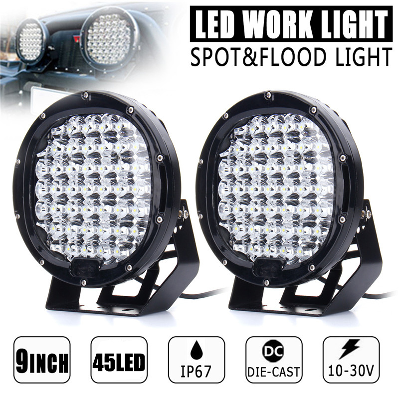 9 Inch 225W 150000LM LED Work Light SpotLight Flood Lens Driving Lamp Headlight for Car Truck