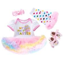 4pcs Easter Baby Girls Rompers Dress Sets Short Sleeve Bunny Egg Dresses Suits Headband Leg Warmers Or Shoes Romper Set