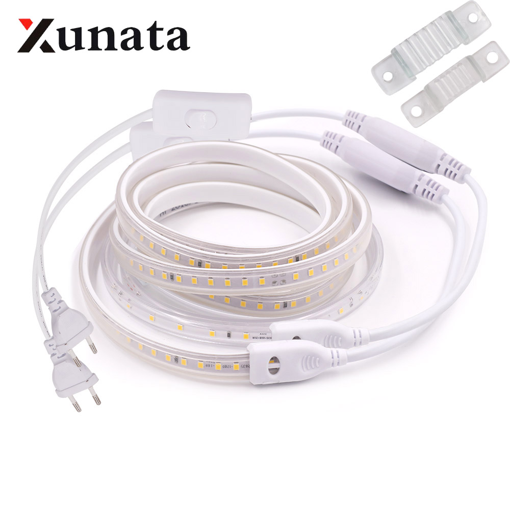 220V 2835 LED Strip Waterproof High Brightness Warm / White 60LEDs/m 120LEDs/m Ribbon Tape Flexible LED Strip Light Lamp Outdoor