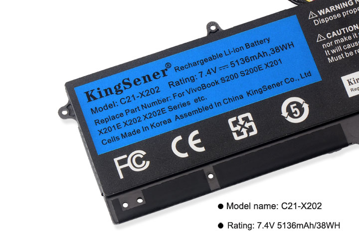 Image 5 - KingSener C21 X202 Laptop Battery for ASUS VivoBook S200 S200E X201 X201E X202 X202E S200E CT209H S200E CT182H S200E CT1 5136mAh-in Laptop Batteries from Computer & Office