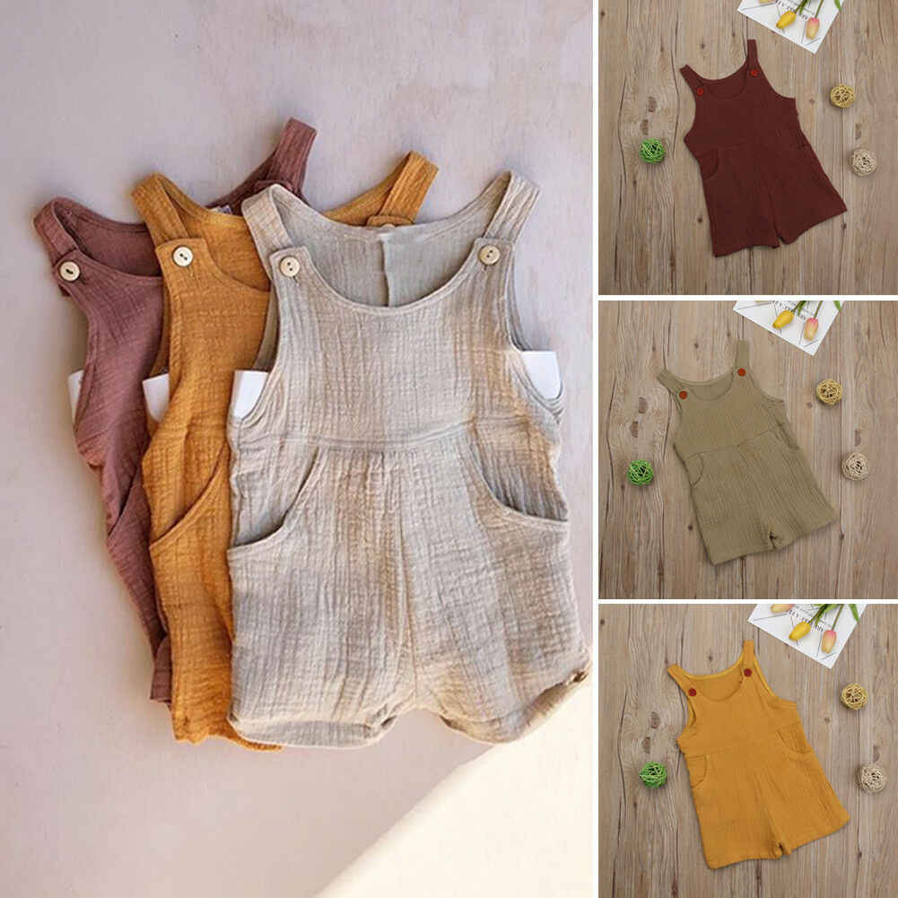 Cute Newborn Baby Girl Sleeveless Romper Jumpsuit Playsuit Cotton Linen Outfit Clothes Cute Soft One Piece Clothing 0-3Y 2019