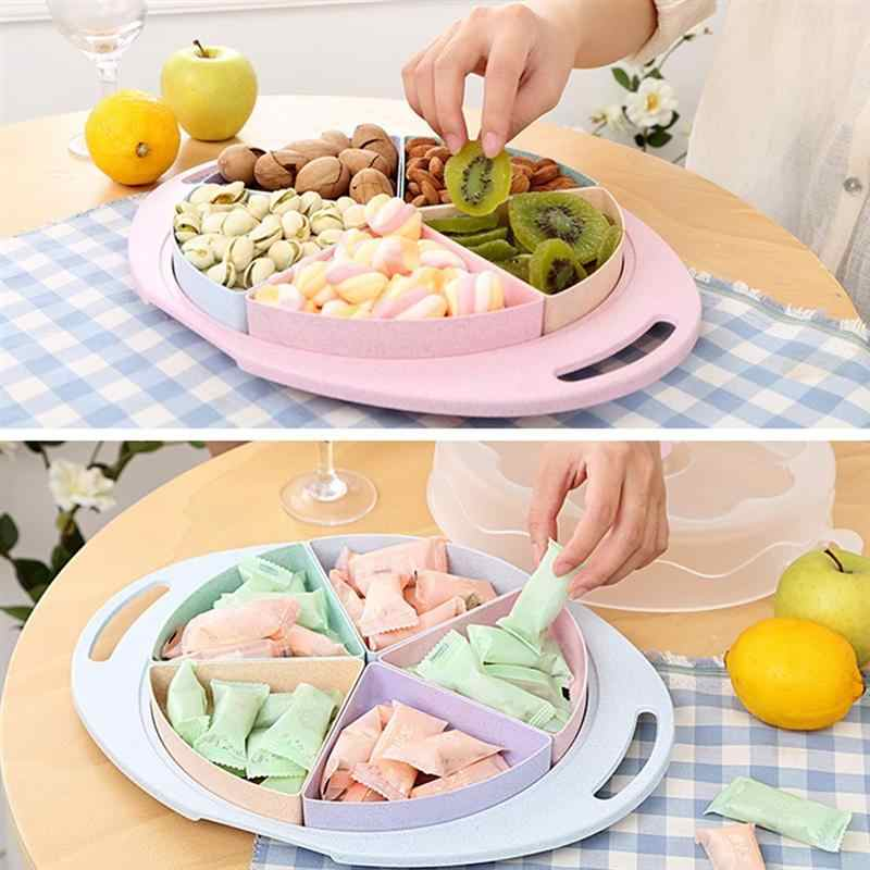 Candy Nut Serving Container Appetizer Tray with Lid 4 Compartment Round Food Storage Organizer Divided Platter Dish with Cover