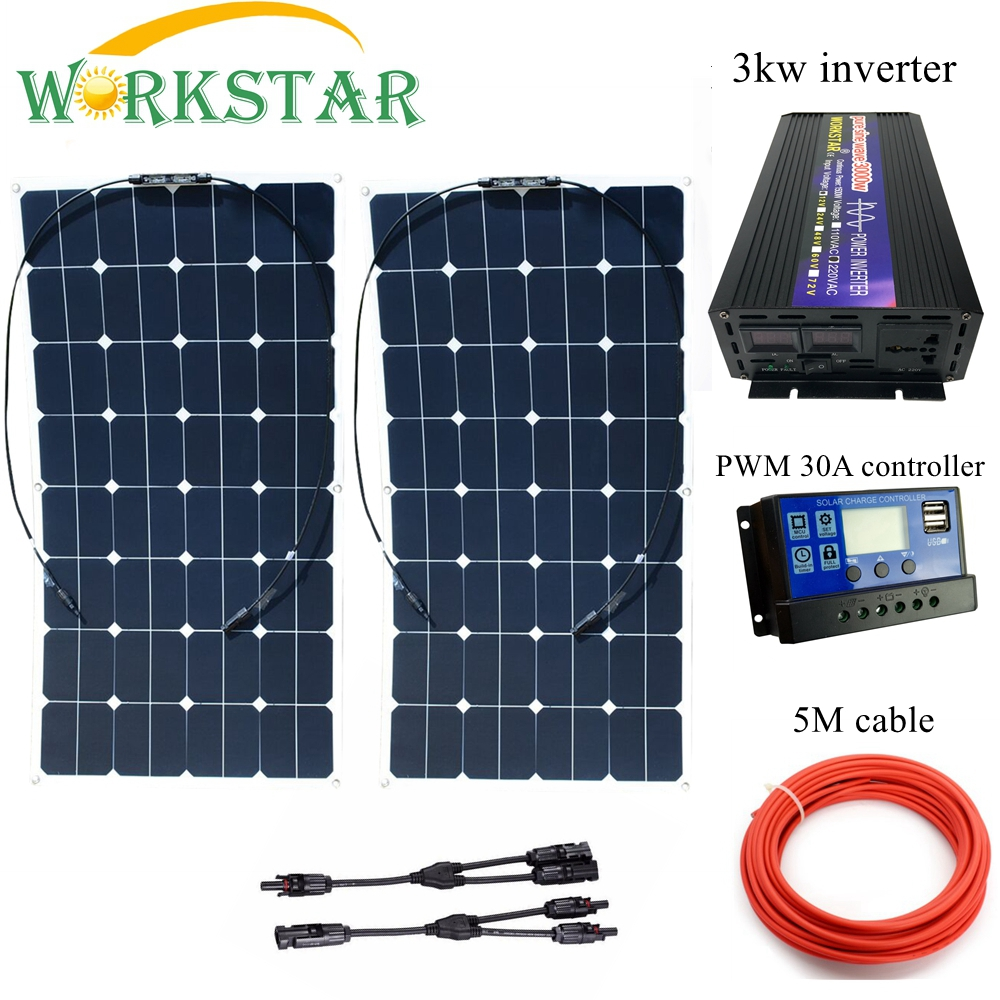 WORKSTAR 2*100W Sunpower Flexible <font><b>Solar</b></font> <font><b>Panels</b></font> with 30A Controller and <font><b>3000W</b></font> Inverter 200W <font><b>solar</b></font> System Kit for Beginner image