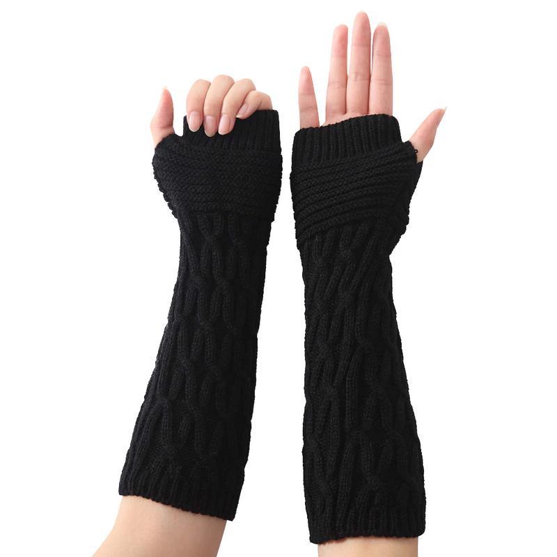 High Quality Women Gloves Stylish Hand Warmer Winter Gloves Women Crochet Knitting Faux Wool Mitten Warm Fingerless Arm Sleeve