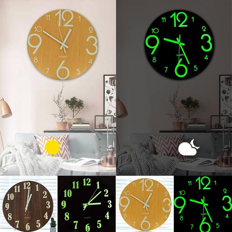 DIY 3D Luminous Hanging Clock Glow Dark Acrylic Brief Digital Number Wall Clock Silent Clock Acrylic Quiet DIY Wall Clock Modern