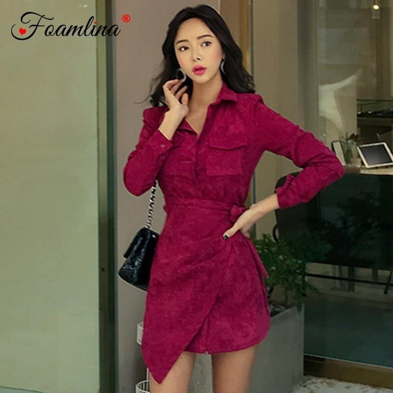 Foamlina Elegant Women Autumn Dress Turn Down Collar Long Sleeve Buttons Wrap Sashes Irregular Hem Casual Work Pencil Dress Robe