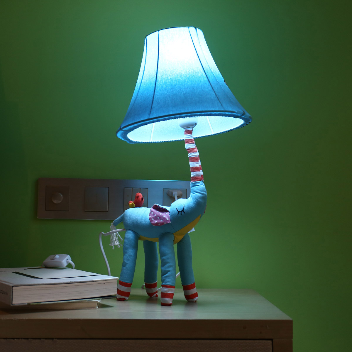 Blue Elephant figurine Lamp Animal figurine Lamp Table Lamp Night Light for Kids Lampshade Bedroom Nursery Room without Led Bulb 5