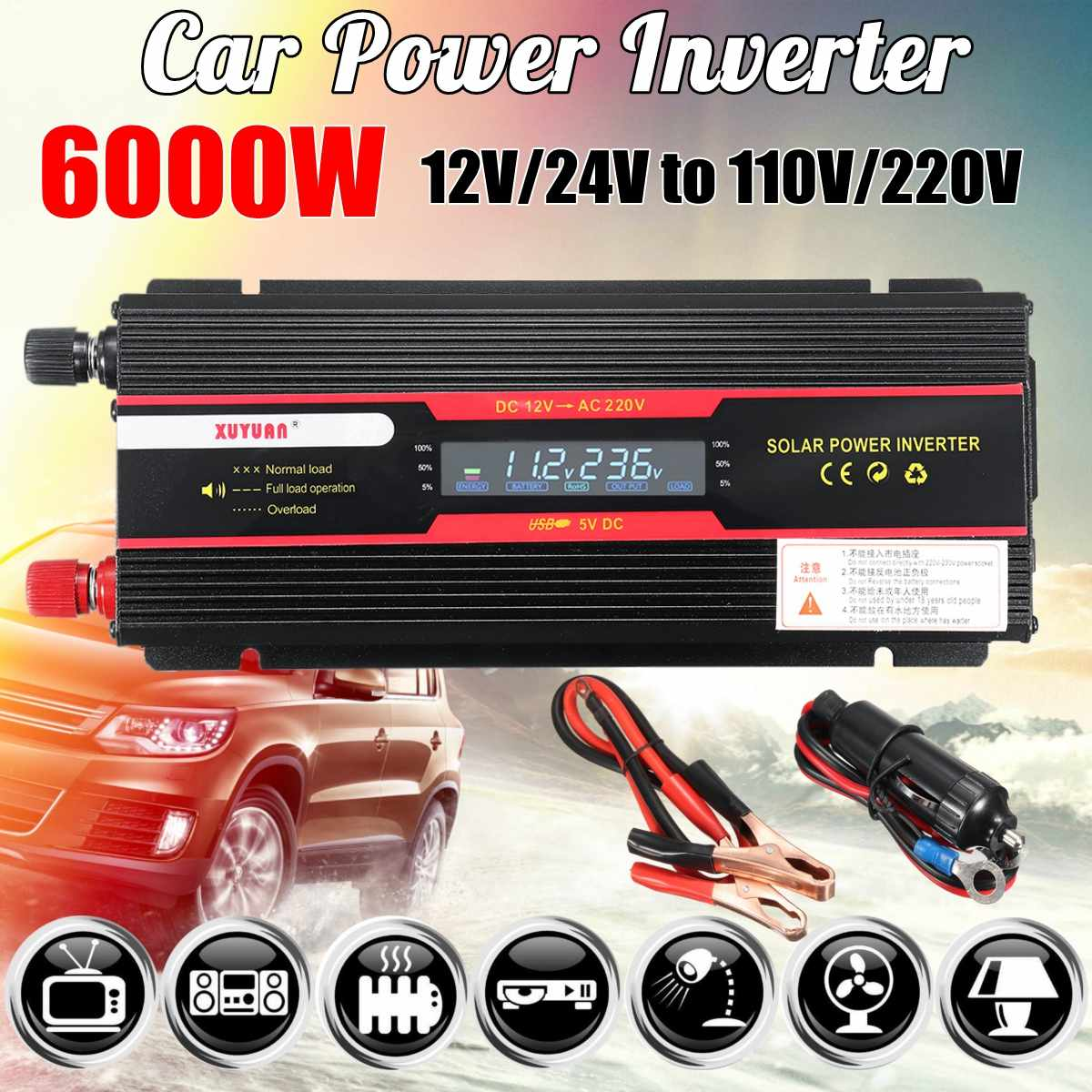 Car Inverter 12V 220V 5000W/6000W P eak Power Inverter Voltage Convertor Transformer 12V/24V To 110V/220V Inversor + LCD DisplayCar Inverter 12V 220V 5000W/6000W P eak Power Inverter Voltage Convertor Transformer 12V/24V To 110V/220V Inversor + LCD Display