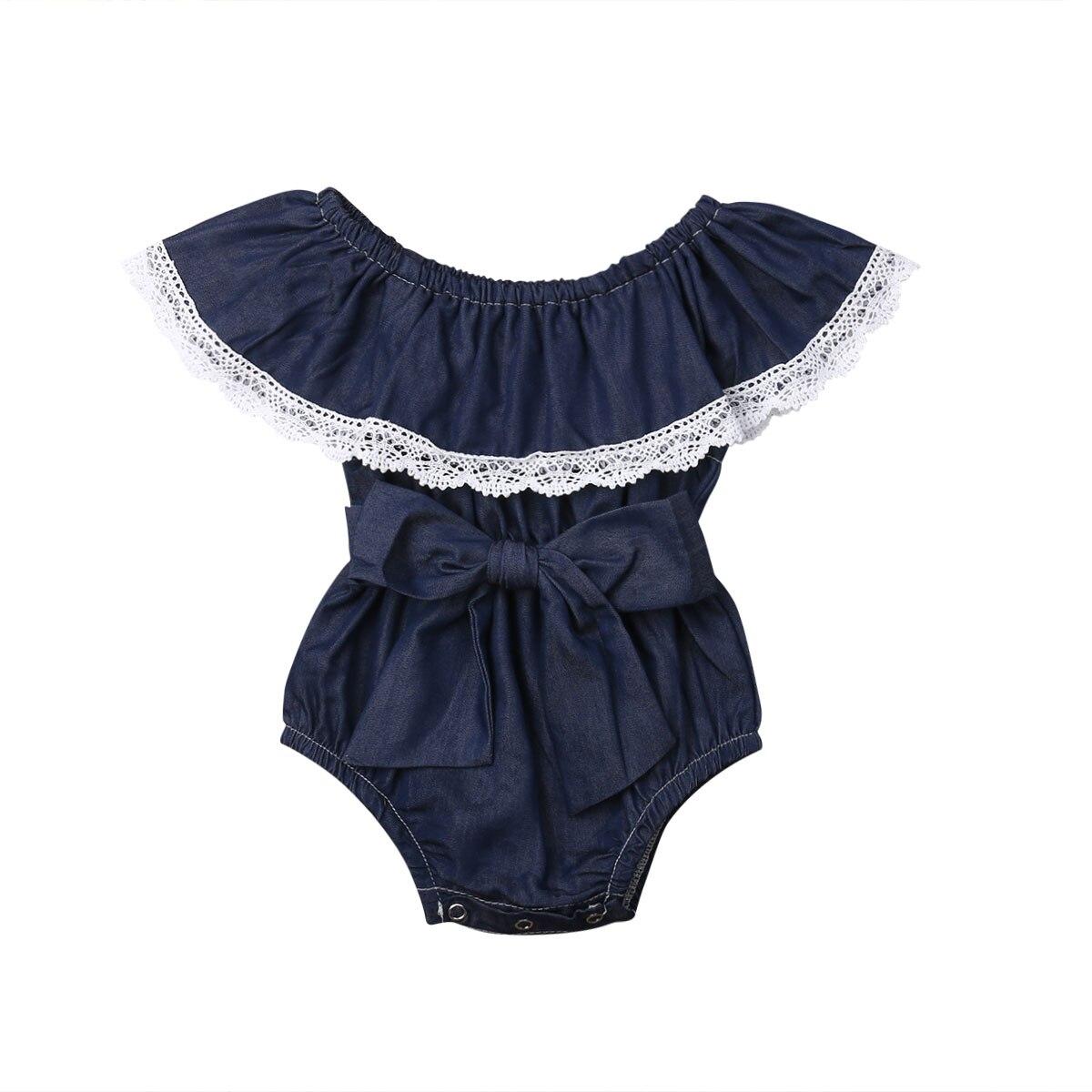 0-24 Mt Mode Neugeborenen Baby Mädchen Off Schulter Spitze Kap Kragen Bogen Denim Romper Overall Outfits Sunsuit Kleidung