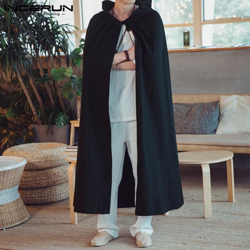 2019 Men Cloak Cotton Long Outerwear Hooded Vintage Solid Color Loose Cape Windbreaker Fashion Men   Trench   Coat Hombre INCERUN