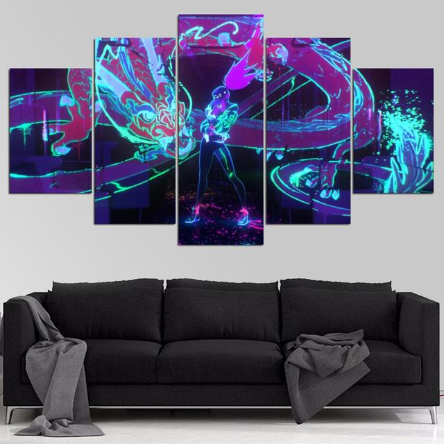 HD canvas printed painting 5 piece League of Legends KDA Akali Splash Art Home decor Poster Picture For Living Room YK-1226 1