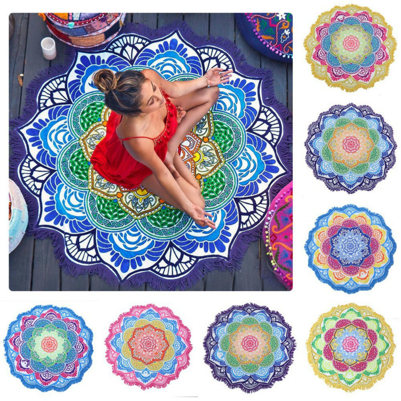 Summer Beach Indian Mandala Tapestry Peacock Printed Towel Yoga Mat Sunblock Round Bikini Cover-Up Blanket Throw 150*150 CM